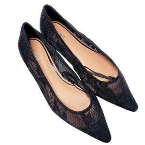 Zara Black Lace Cap Toe Ballerina Flats Size 7.5